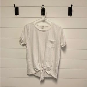 White knotted tee